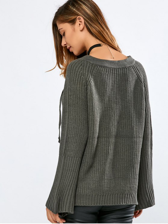 High Low V Neck Lace Up Sweater - BLACKISH GREEN ONE SIZE Mobile