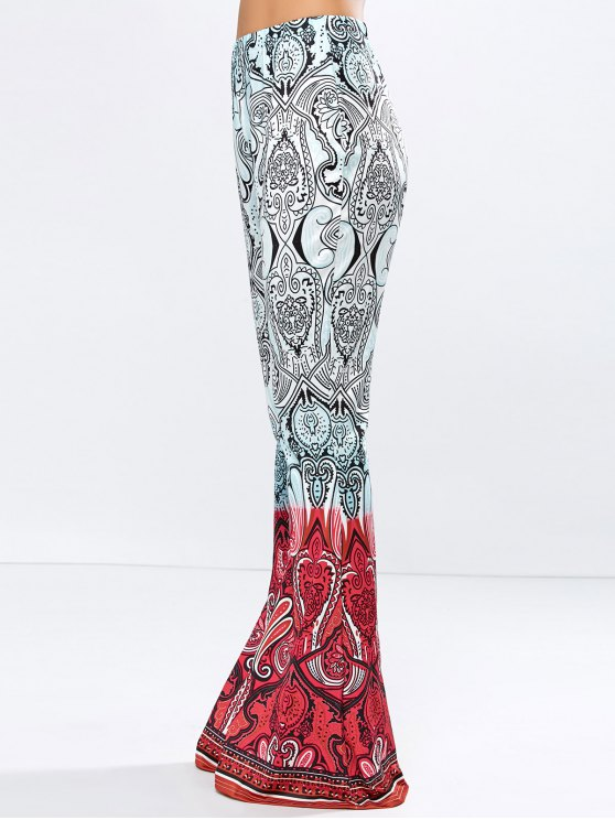 High Rise Printed Flare Pants - ROSE RED M Mobile