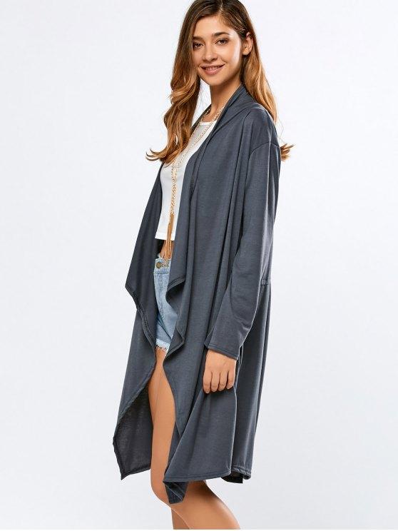 Long Sleeve Back Slit Long Cardigan - DEEP GRAY XL Mobile