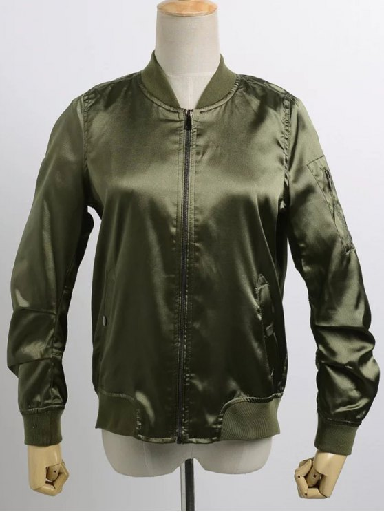 women's Satin Bomber Zippered Jacket - ARMY GREEN M