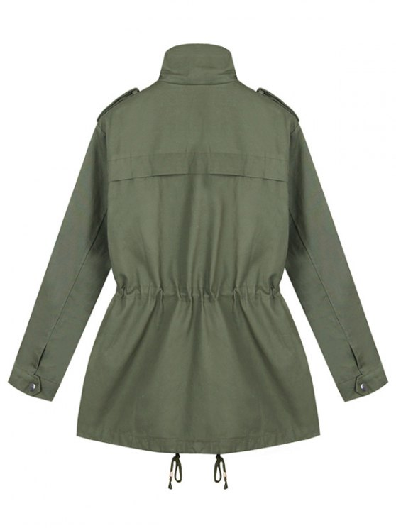 Loose String Utility Coat - ARMY GREEN ONE SIZE Mobile