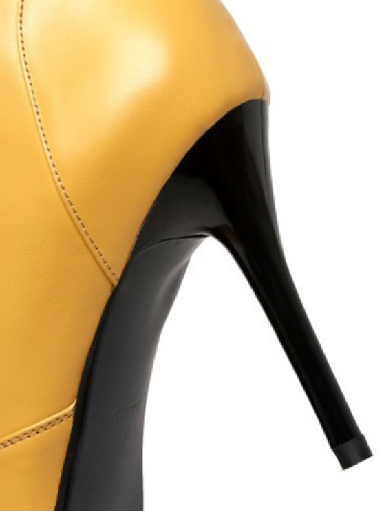 Leather Pointed Toe Lace-Up High Heel Boots - YELLOW 39 Mobile