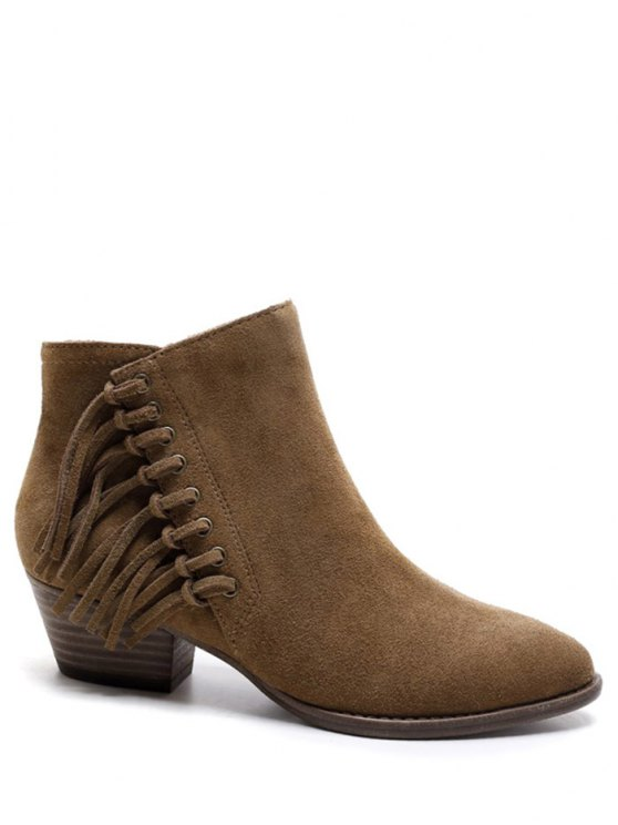 affordable Chunky Heel Eyelet Fringe Ankle Boots - BROWN 37