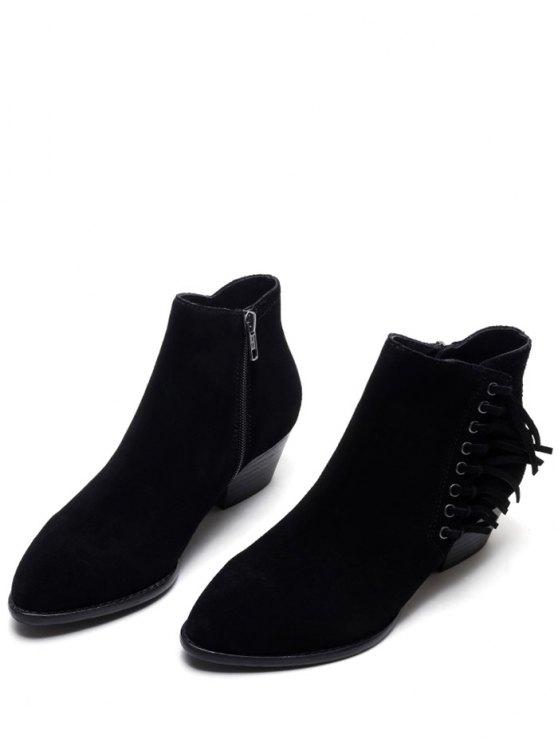 Chunky Heel Eyelet Fringe Ankle Boots - BLACK 38 Mobile