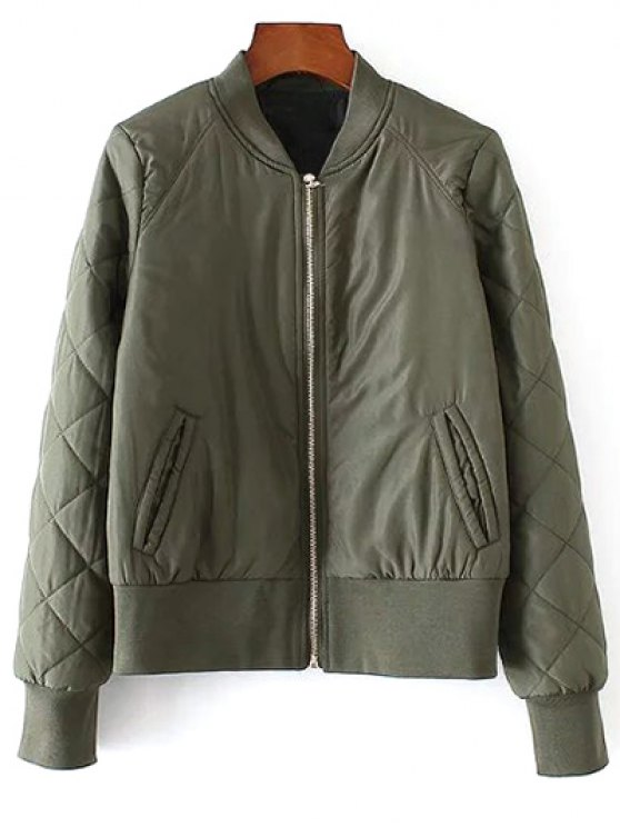 online Argyle Padded Jacket - ARMY GREEN S