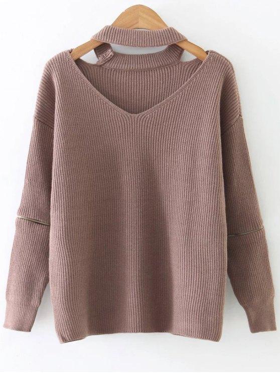 fashion Zipper Sleeve Cut Out Choker Sweater - KHAKI ONE SIZE