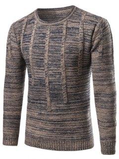Crew Neck Vertical Stripe Kink Knit Blends Long Sleeve Sweater - Blue Gray L