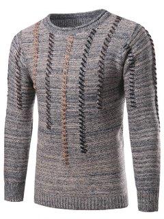 Crew Neck Vertical Stripe Color Block Kink Knit Blends Sweater - Light Gray M