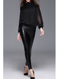 Faux Leather Skinny Pants - Black M