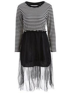 Striped Mesh Spliced Faux Twinset Sweater Dress - Black M