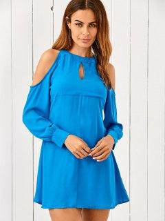 Robe En Mousseline De Soie à épaules Dénudés Découpée - Bleu S