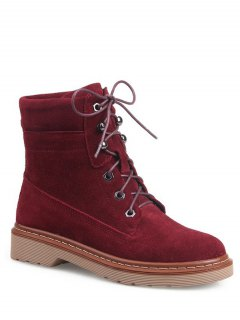 Eyelet Lace-Up Combat Boots - Red 38