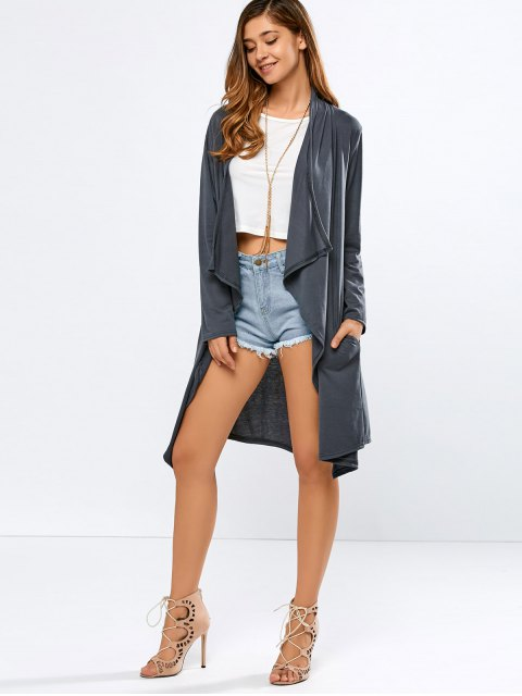 women's Long Sleeve Back Slit Long Cardigan - DEEP GRAY XL Mobile