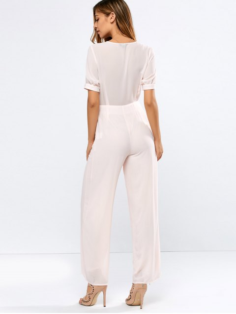 outfit Cropped Tied Wide Leg Jumpsuit - SHALLOW PINK L Mobile