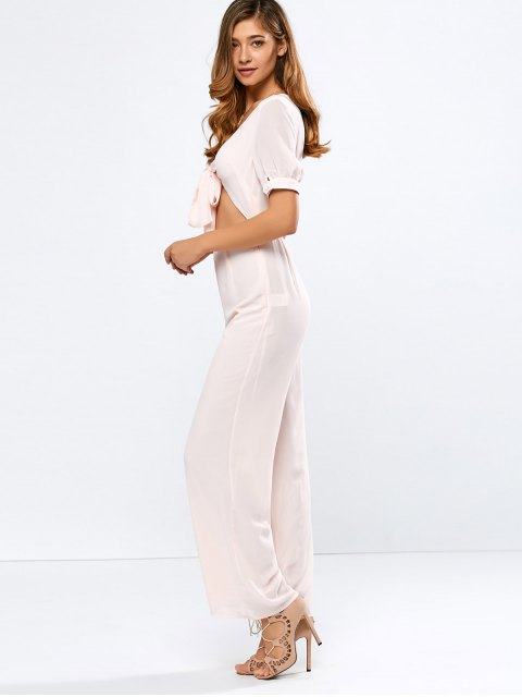 shop Cropped Tied Wide Leg Jumpsuit - SHALLOW PINK S Mobile