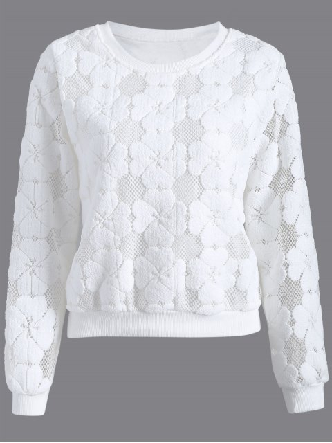 trendy Flocked Mesh Sweatshirt - WHITE M Mobile