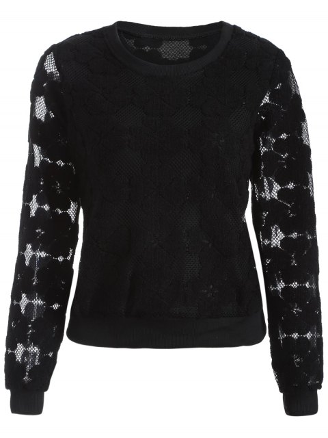 fancy Flocked Mesh Sweatshirt - BLACK M Mobile