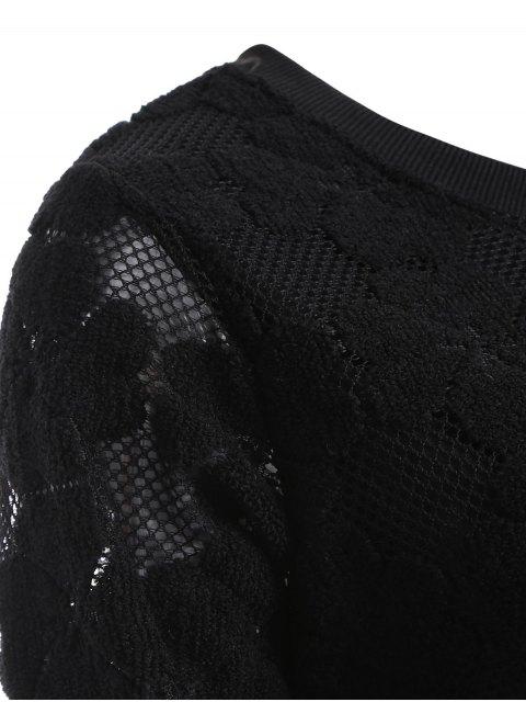 fashion Flocked Mesh Sweatshirt - BLACK XL Mobile