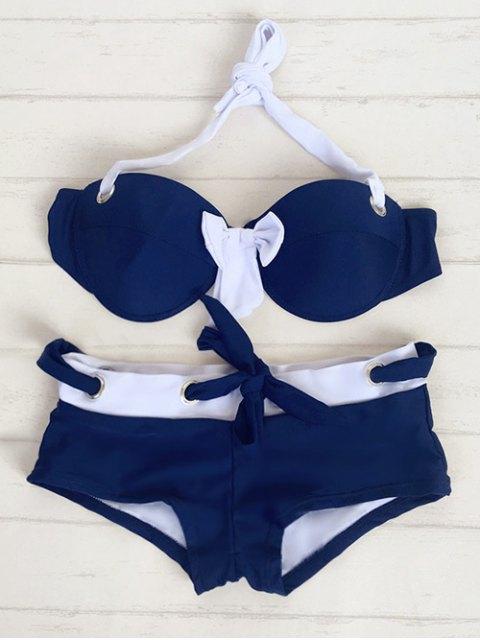 latest Halter Drawstring Bowknot Bikini - BLUE M Mobile