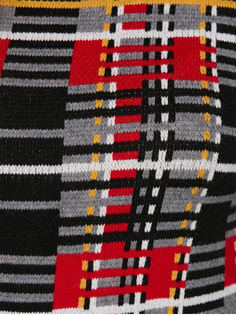 trendy Plus Size Tartan Sweater - BLACK ONE SIZE Mobile