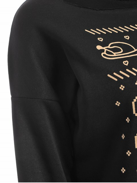 sale Letter Print Christmas Sweatshirt - BLACK M Mobile
