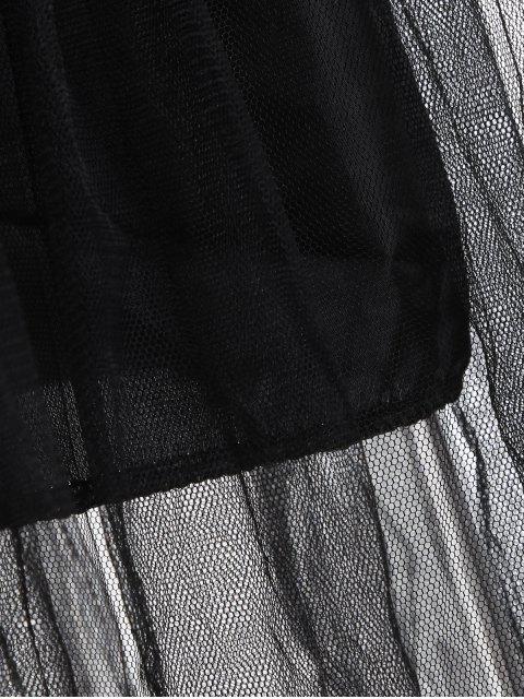 chic Striped Mesh Spliced Faux Twinset Sweater Dress - BLACK 2XL Mobile