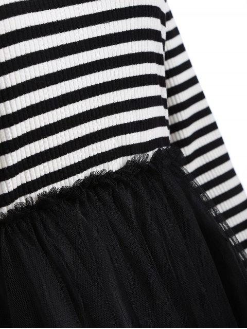 fashion Striped Mesh Spliced Faux Twinset Sweater Dress - BLACK 3XL Mobile
