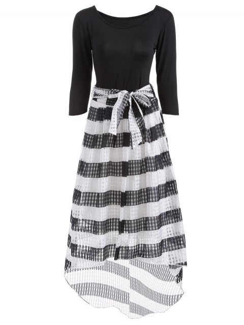 outfits Scoop Neck T-Shirt With Striped Skirt - WHITE AND BLACK M Mobile