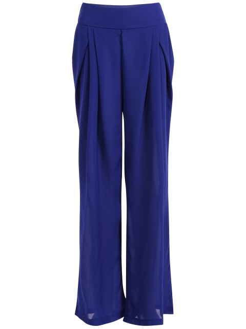 shop Chiffon Culotte Pants - BLUE M Mobile