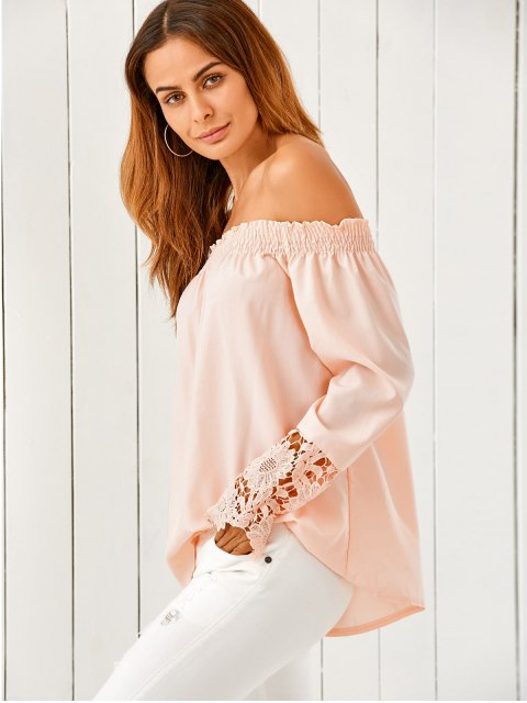 womens Off The Shoulder Loose Blouse - NUDE PINK M Mobile