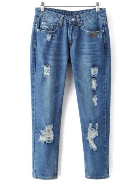 best Skinny Ripped Narrow Feet Jeans - DENIM BLUE L Mobile