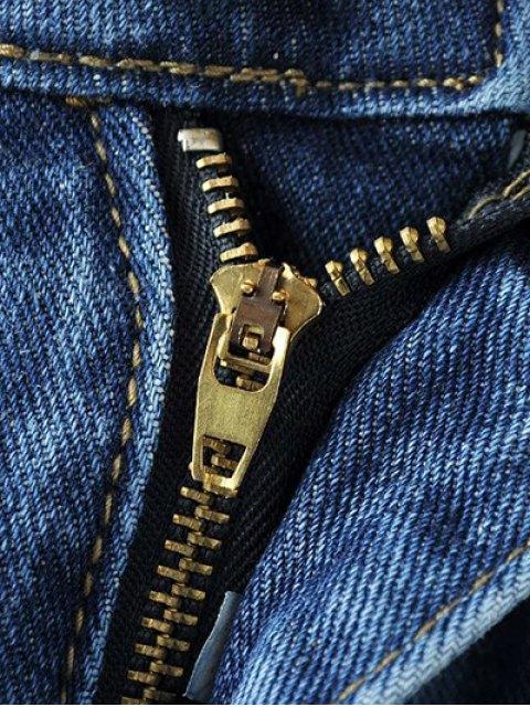 online Skinny Ripped Narrow Feet Jeans - DENIM BLUE M Mobile