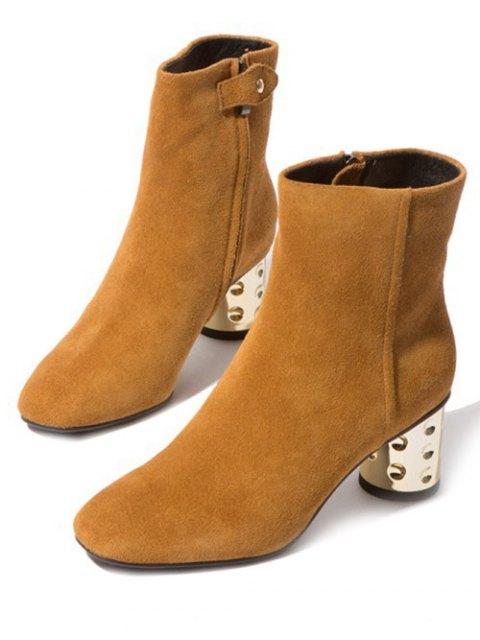 women's Square Toe Metallic Chunky Heel Boots - LIGHT BROWN 39 Mobile