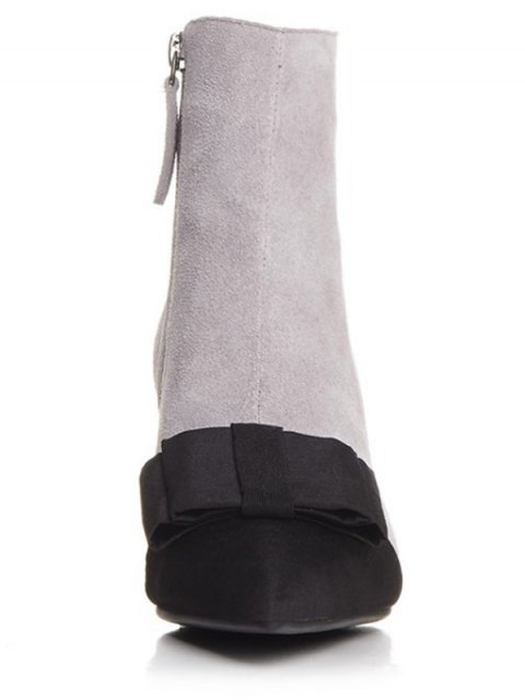 hot Bowknot Pointed Toe Chunky Heel Boots - GRAY 39 Mobile