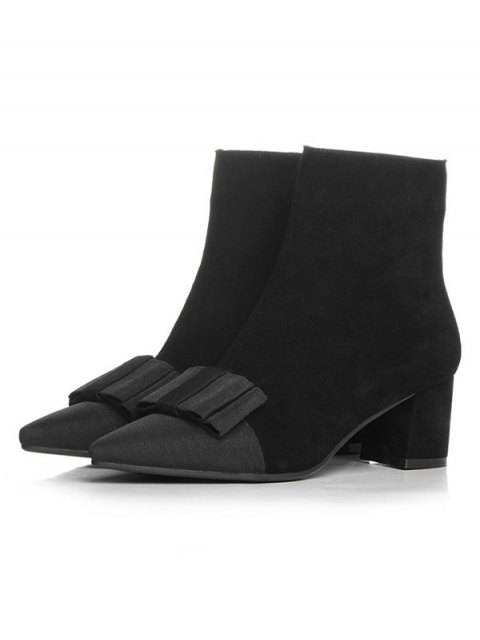 shop Bowknot Pointed Toe Chunky Heel Boots - BLACK 39 Mobile