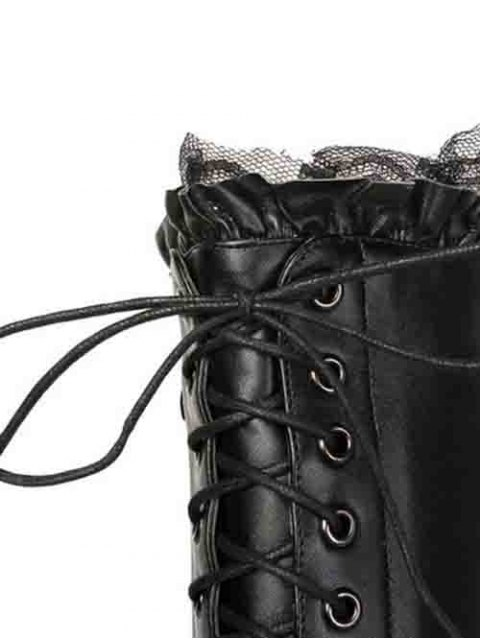 trendy Lace-Up Pointed Toe Stiletto Heel Boots - BLACK 39 Mobile
