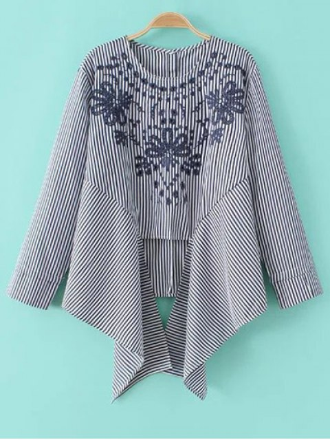 chic Asymmetric Embroidered Striped Blouse - BLUE AND WHITE M Mobile