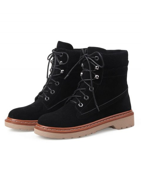 affordable Eyelet Lace-Up Combat Boots - BLACK 39 Mobile