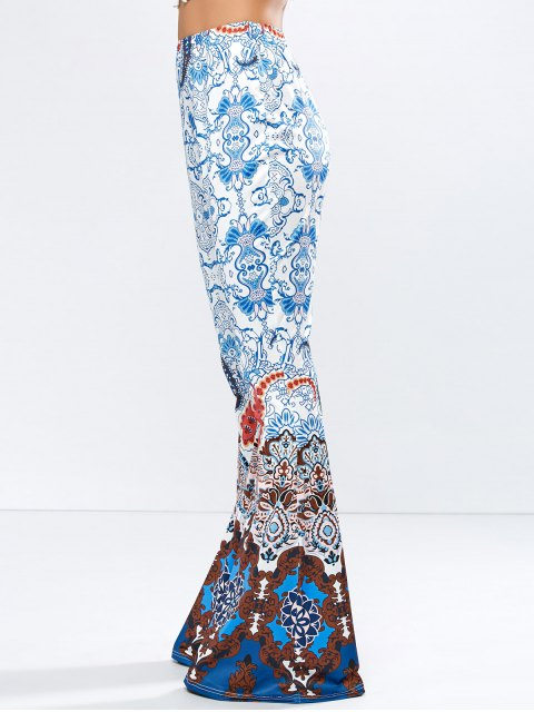 affordable High Rise Printed Flare Pants - BLUE L Mobile