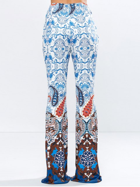 womens High Rise Printed Flare Pants - BLUE S Mobile