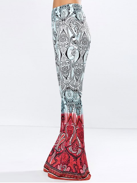 women High Rise Printed Flare Pants - ROSE RED L Mobile