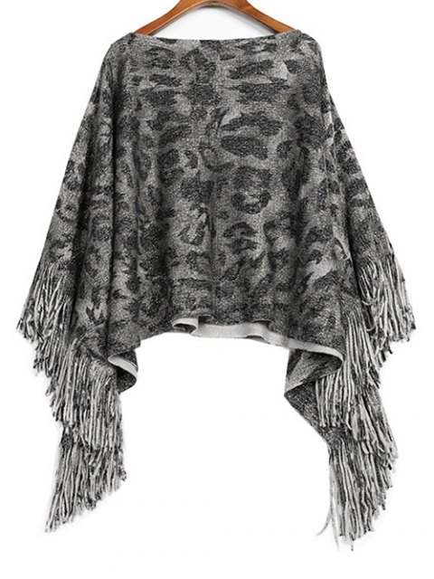 fancy Fringed Jacquard Knitwear - GRAY ONE SIZE Mobile