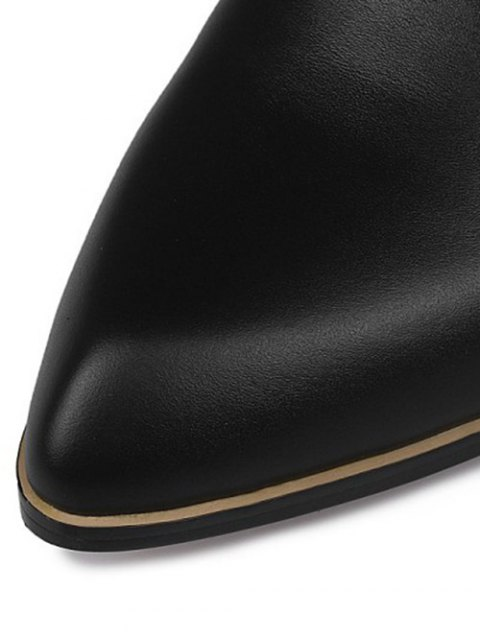 lady Back Zip Cut Out Chunky Heel Leather Boots - BLACK 39 Mobile
