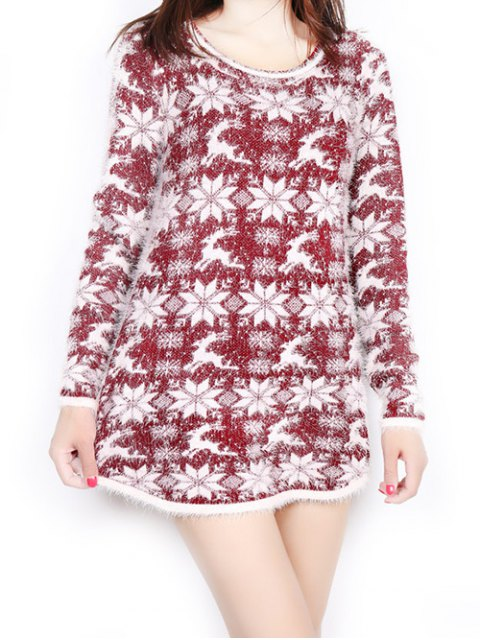 affordable Jacquard Christmas Sweater - WINE RED ONE SIZE Mobile
