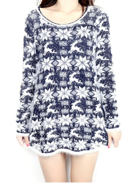 buy Jacquard Christmas Sweater - PURPLISH BLUE ONE SIZE Mobile