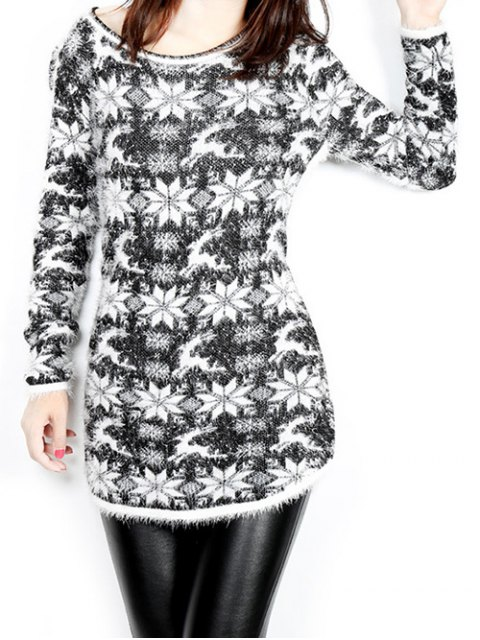 womens Jacquard Christmas Sweater - BLACK ONE SIZE Mobile