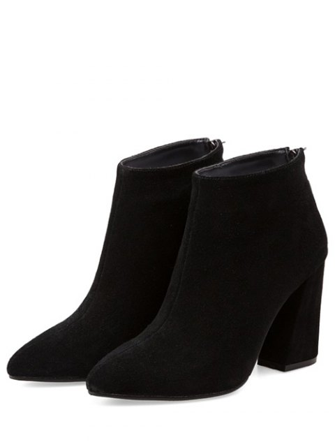 ladies Concise Pointed Toe Chunky Heel Boots - BLACK 39 Mobile