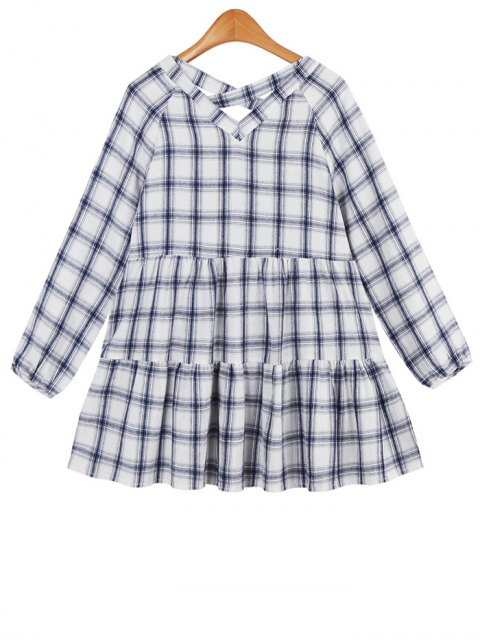 affordable Long Ruffles Checked Blouse - BLUE ONE SIZE Mobile