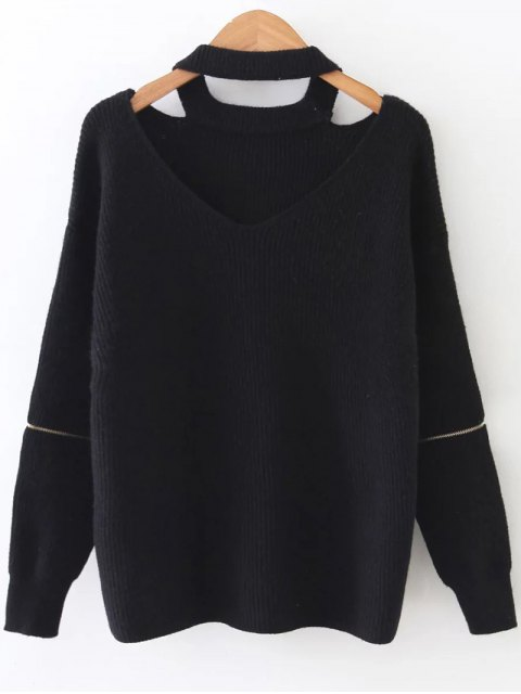 latest Zipper Sleeve Cut Out Choker Sweater - BLACK ONE SIZE Mobile