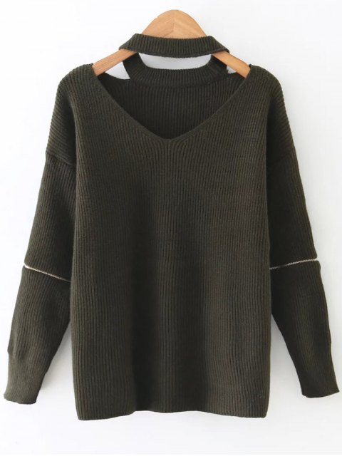 trendy Zipper Sleeve Cut Out Choker Sweater - RESEDA GREEN ONE SIZE Mobile